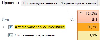 Antimalware Service Executable грузит ЦП на 100