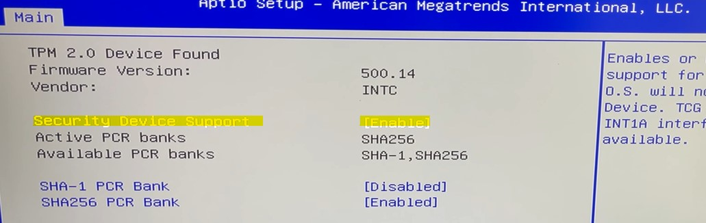 Security Device support HP bios TPM
